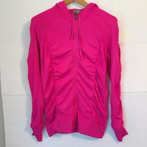 Athleta full zip ruched hooded pink jacket TALL